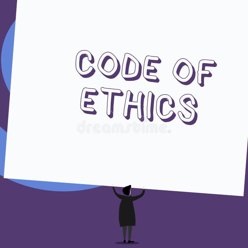 Het schrijven nota die Code van Ethiek tonen De bedrijfsfoto die basisgids voor professioneel gedrag demonstreren en legt rechten royalty-vrije illustratie