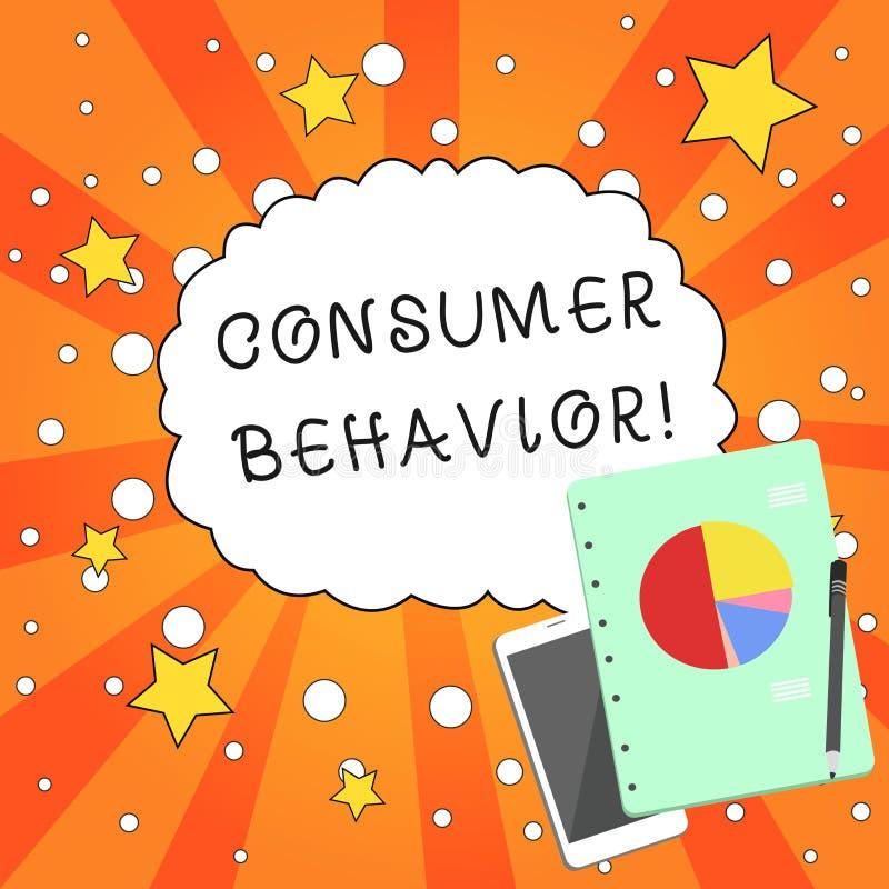 Het schrijven nota die Consumentengedrag tonen Bedrijfsfoto demonstratiestudie van hoe de individuele klanten met interactie aang vector illustratie