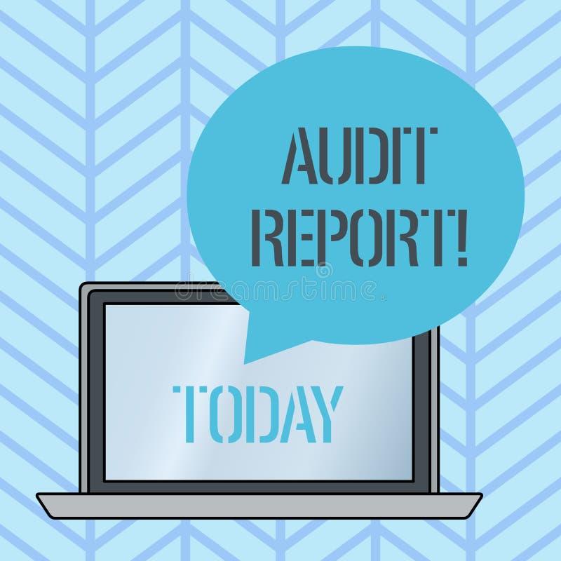 Het schrijven nota die Controleverslag tonen Bedrijfsfoto die Geschreven advies van een auditor over financi?le bedrijven demonst royalty-vrije illustratie
