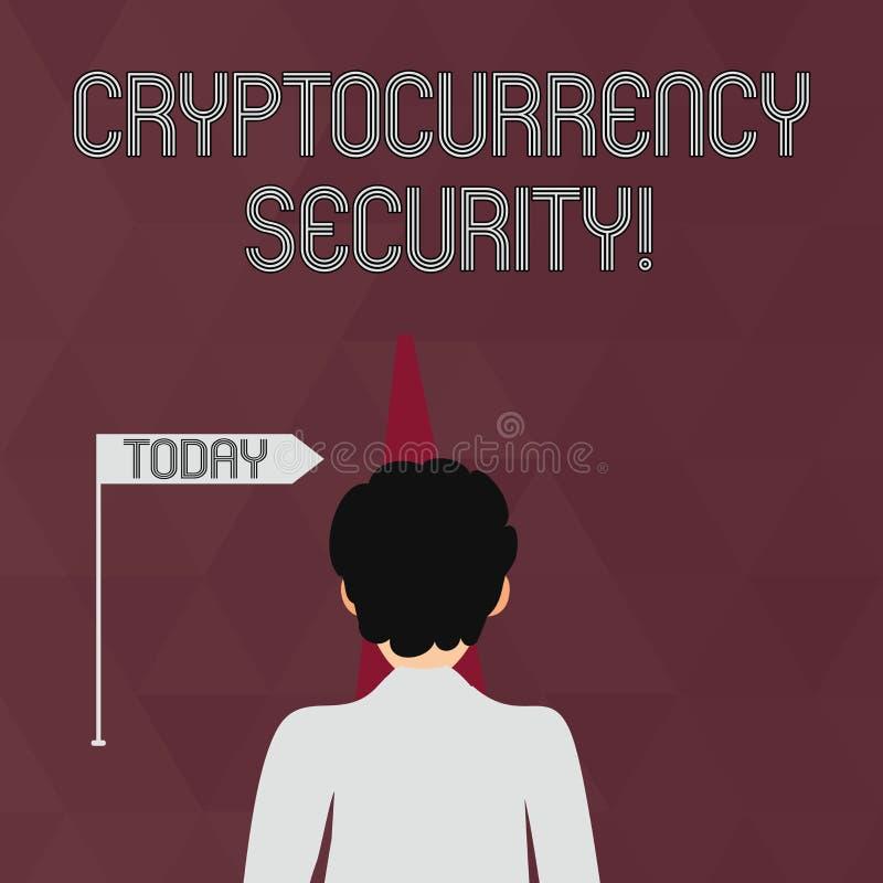 Het schrijven nota die Cryptocurrency-Veiligheid tonen De bedrijfsfoto demonstratiepogingen verkrijgen digitale munten door onwet royalty-vrije illustratie