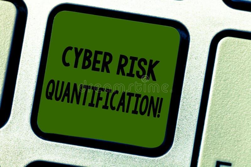 Het schrijven nota die Cyber-Risicogetalsmatige weergave tonen De bedrijfsfoto demonstratie handhaaft een aanvaardbaar niveau van royalty-vrije stock foto