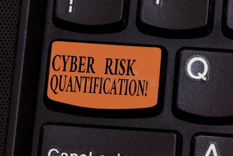 Het schrijven nota die Cyber-Risicogetalsmatige weergave tonen De bedrijfsfoto demonstratie handhaaft een aanvaardbaar niveau van royalty-vrije stock afbeeldingen