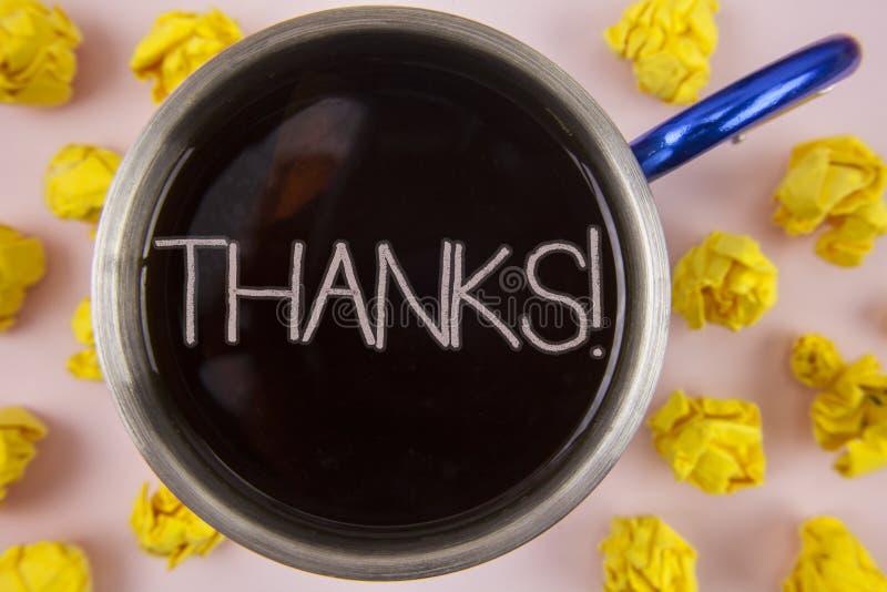 Het schrijven nota die Dank Motievenvraag tonen De groeterkenning Dankbaarheid geschreven o van de bedrijfsfoto demonstratieappre vector illustratie