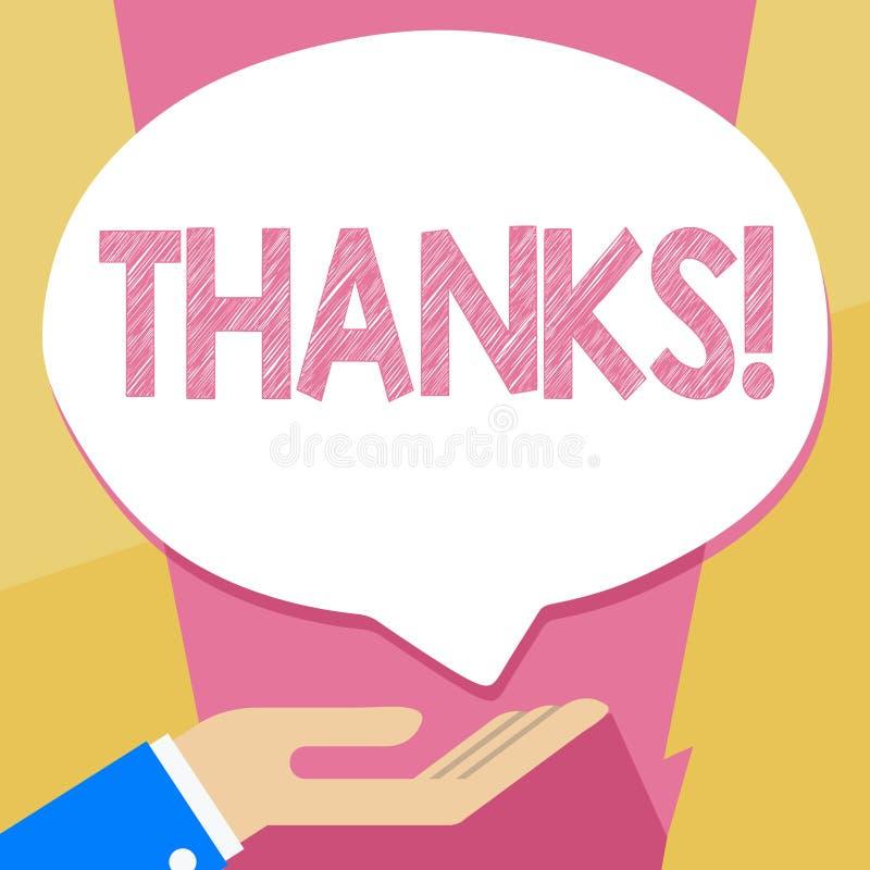 Het schrijven nota die Dank tonen De Dankbaarheid van de de groeterkenning van de bedrijfsfoto demonstratieappreciatie royalty-vrije illustratie