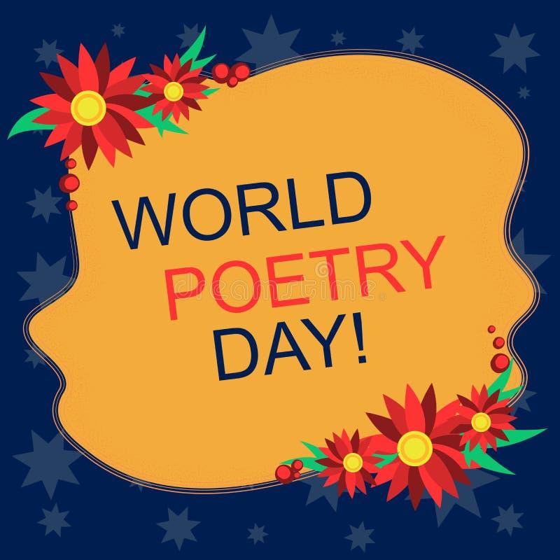 Het schrijven nota die de Dag van de Wereldpoëzie tonen Bedrijfsfoto die tijd de Wereldwijd van de lezingsboeken van de literatuu royalty-vrije illustratie