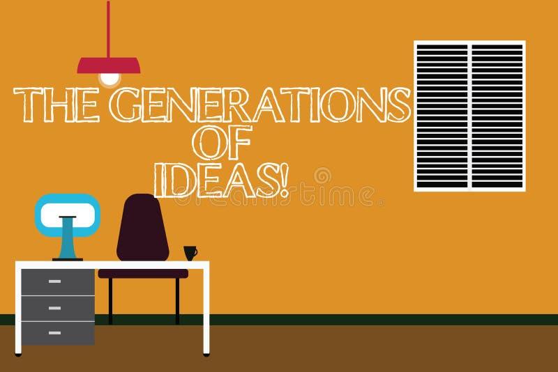 Het schrijven nota die de Generaties van Ideeën tonen Creatieve de activiteiteninspiratie van de bedrijfsfoto demonstratiebrainst vector illustratie