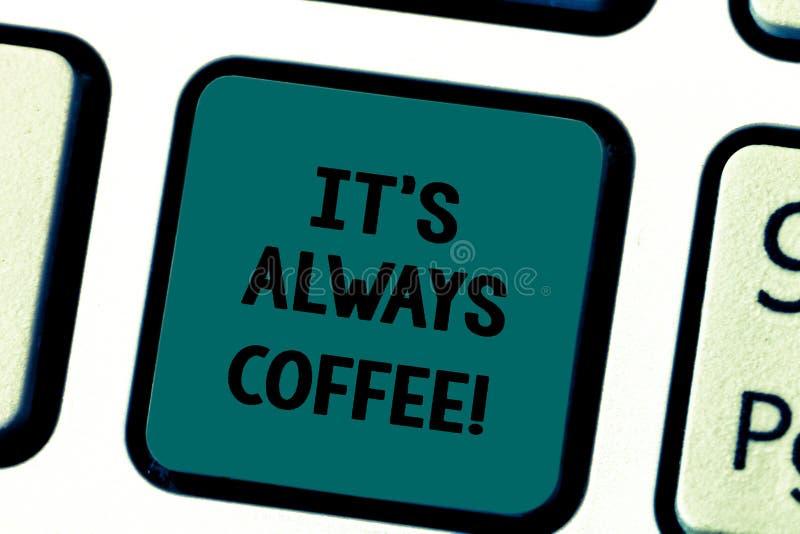 Het schrijven nota die het de Koffie van S toont altijd Bedrijfsfoto demonstratie het drinken de cafeïne is levenswerkhuis die sl stock afbeeldingen