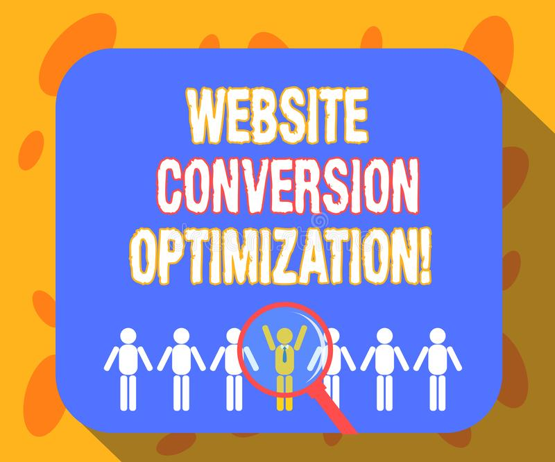 Het schrijven nota die de Optimalisering van de Websiteomzetting tonen Bedrijfsfoto demonstratiesysteem voor stijgende websitebez stock illustratie