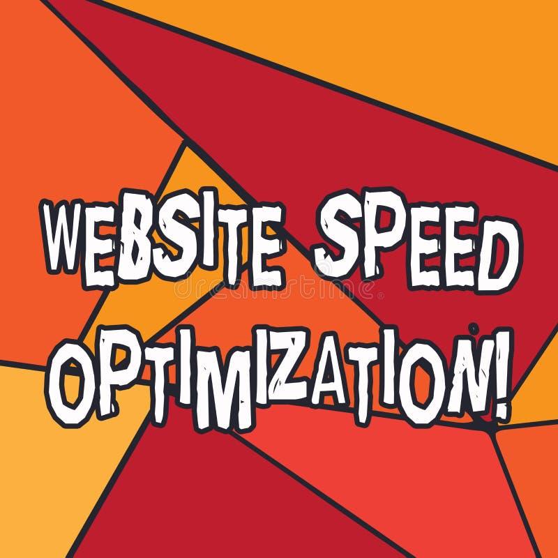 Het schrijven nota die de Optimalisering van de Websitesnelheid tonen De bedrijfsfoto demonstratie verbetert websitesnelheid om b vector illustratie