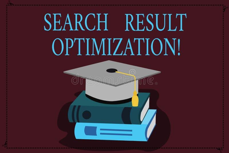 Het schrijven nota die de Optimalisering van het Zoekenresultaat tonen Bedrijfsfoto demonstratie groeiend zicht in zoekmachineres royalty-vrije illustratie