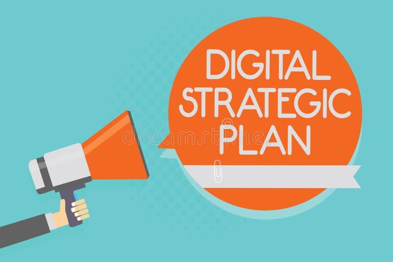 Het schrijven nota die Digitaal Strategisch Plan tonen De bedrijfsfoto demonstratie leidt tot programma voor de marketing van pro royalty-vrije illustratie