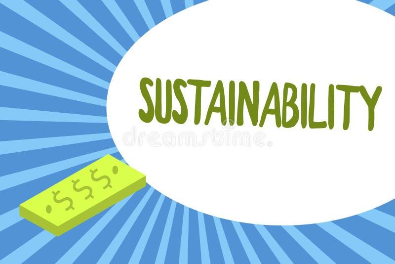 Het schrijven nota die Duurzaamheid tonen Bedrijfsfoto die de capaciteit dat op een bepaald tarief en een niveau demonstreren moe vector illustratie