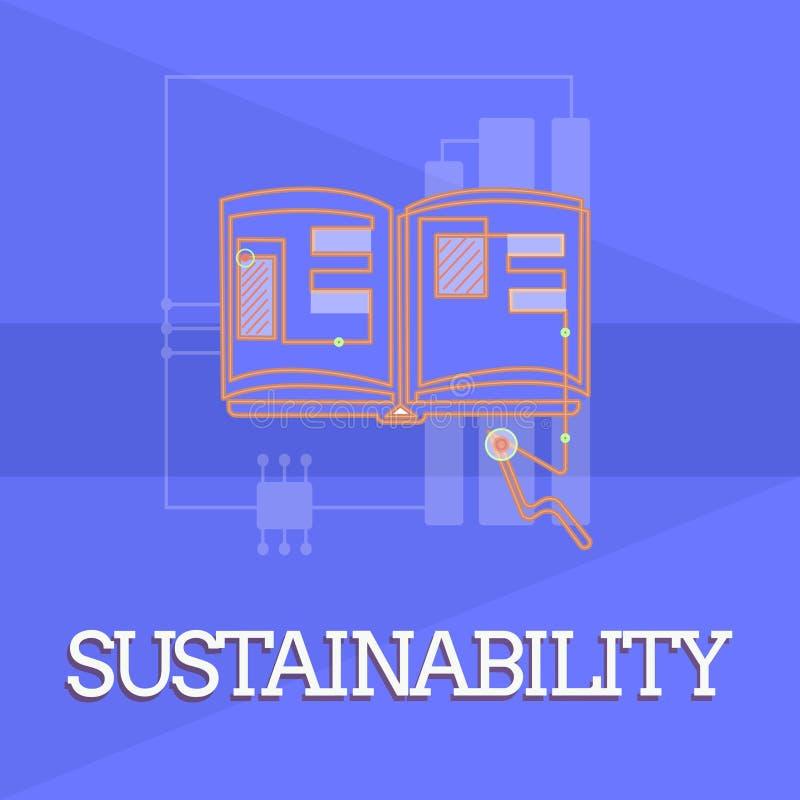 Het schrijven nota die Duurzaamheid tonen Bedrijfsfoto die de capaciteit dat op een bepaald tarief en een niveau demonstreren moe royalty-vrije illustratie