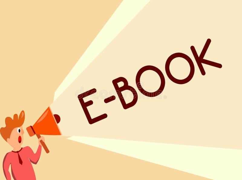 Het schrijven nota die e-Boek tonen Bedrijfsfoto die elektronische versie van gedrukt boek demonstreren dat computer of tablet ka vector illustratie