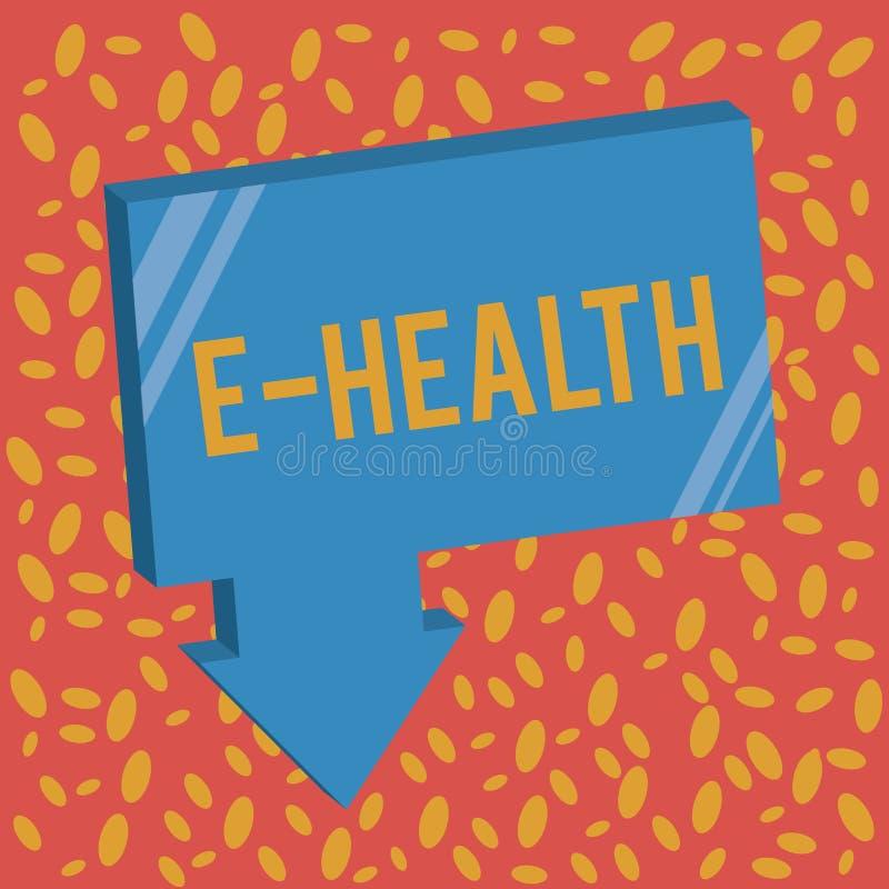 Het schrijven nota die e-Gezondheid tonen De praktijk van de bedrijfsfoto demonstratiegezondheidszorg buoyed door elektronische m royalty-vrije illustratie
