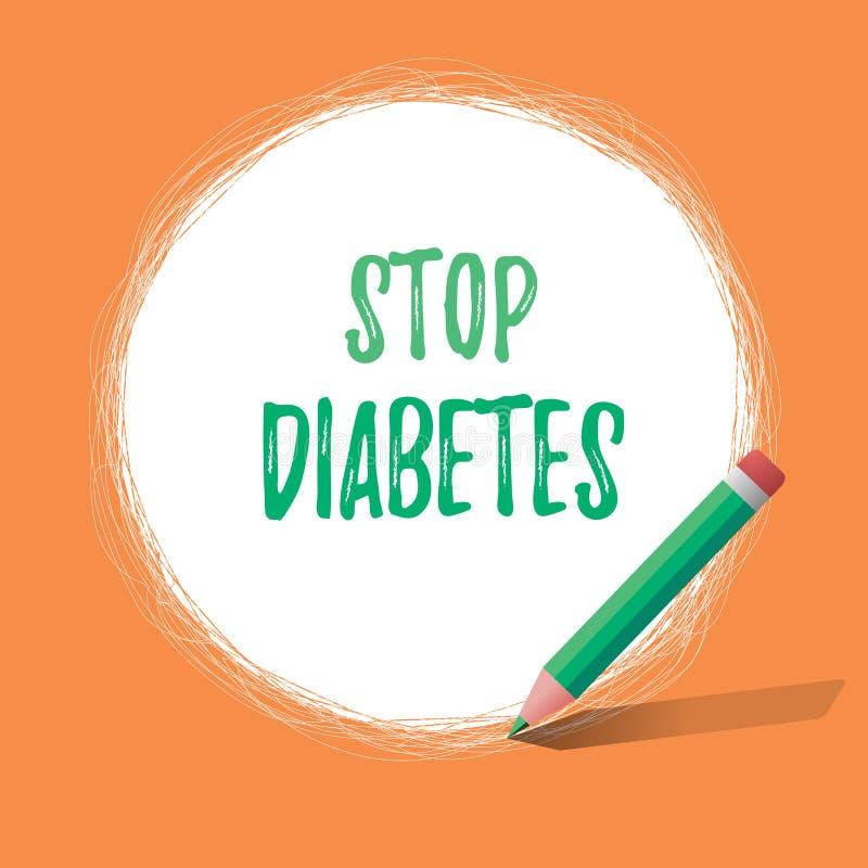 Het schrijven nota die Eindediabetes tonen Het bedrijfsfoto demonstratiebloed Sugar Level is hoger dan normaal Insuline inspuit vector illustratie