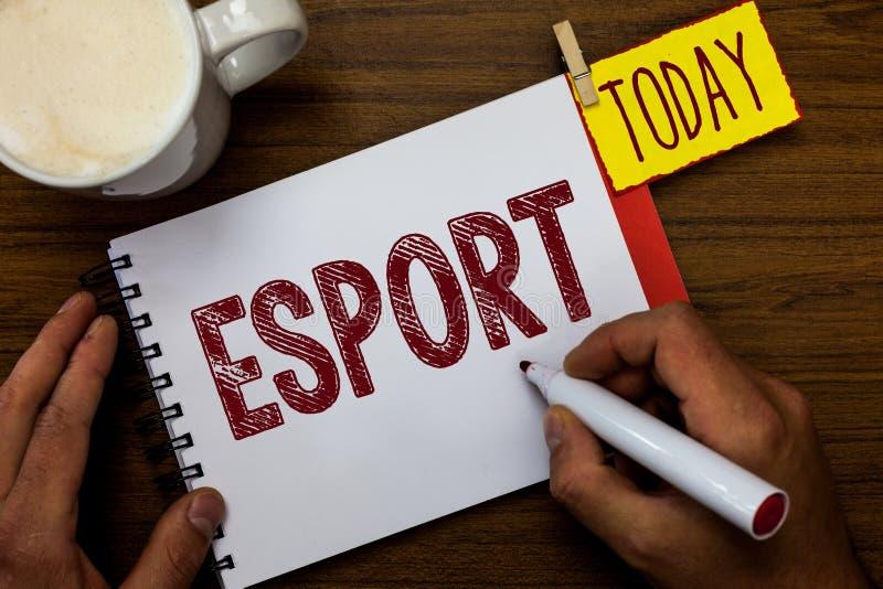 Het schrijven nota die Esport tonen Het bedrijfsfoto demonstratie multiplayer videospelletje speelde concurrerend voor toeschouwe stock foto's