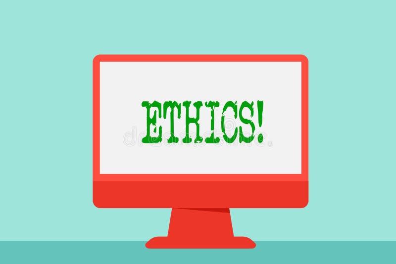 Het schrijven nota die Ethiek tonen Bedrijfsfoto die Handhavend gelijkheidsevenwicht die onder andere morele principes hebben dem vector illustratie
