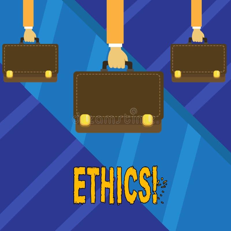 Het schrijven nota die Ethiek tonen Bedrijfsfoto die Handhavend gelijkheidsevenwicht die onder andere morele principes hebben dem stock illustratie