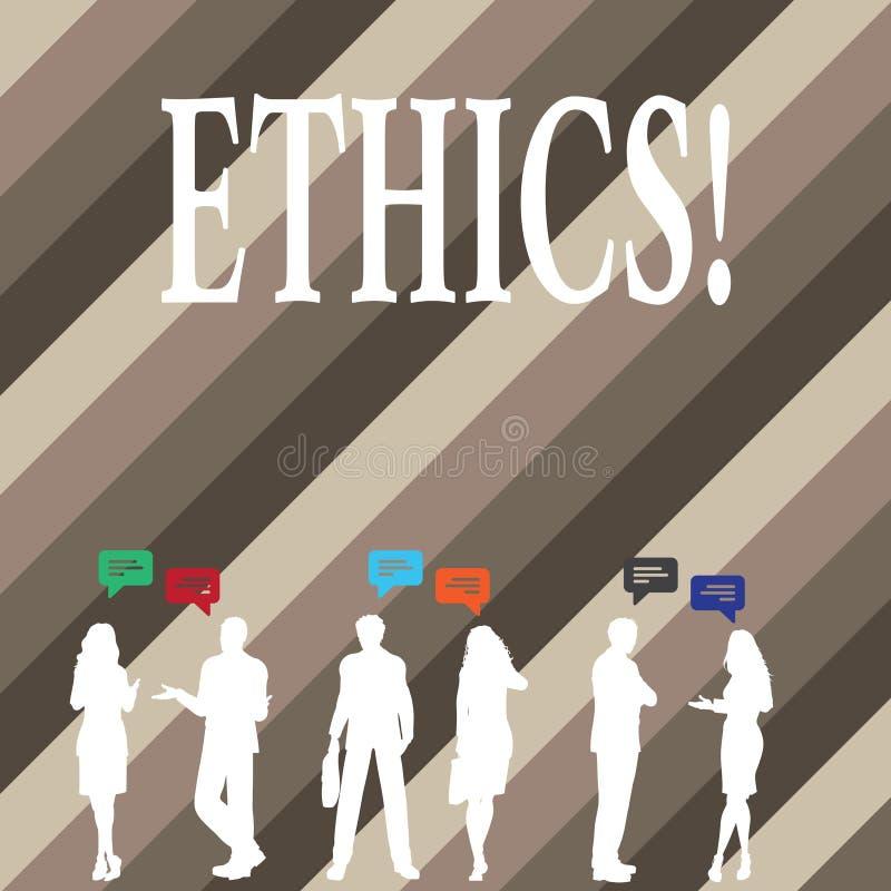 Het schrijven nota die Ethiek tonen Bedrijfsfoto die Handhavend gelijkheidsevenwicht die onder andere morele principes hebben dem royalty-vrije illustratie