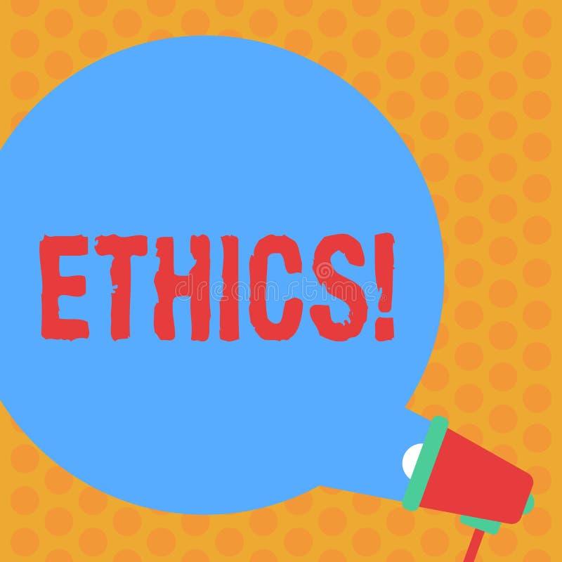 Het schrijven nota die Ethiek tonen Bedrijfsfoto die Handhavend gelijkheidsevenwicht die onder andere morele principesronde hebbe vector illustratie