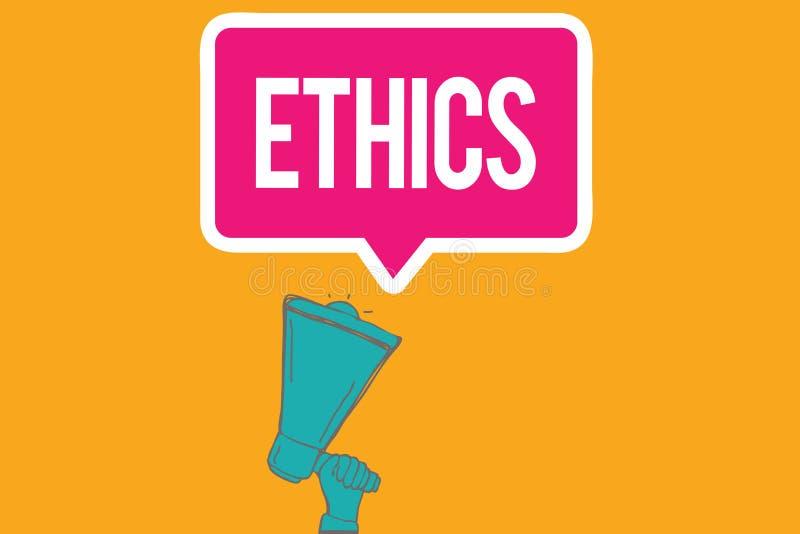 Het schrijven nota die Ethiek tonen Bedrijfsfoto die morele principes demonstreren die persoon gedrag of het leiden regeren stock illustratie