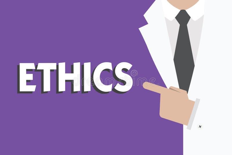 Het schrijven nota die Ethiek tonen Bedrijfsfoto die morele principes demonstreren die persoon gedrag of het leiden regeren royalty-vrije illustratie