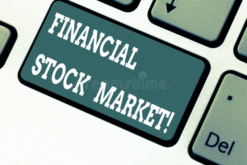 Het schrijven nota die Financiële Effectenbeurs tonen Bedrijfsfoto die tonend handelsfinanciële zekerheden demonstreren en royalty-vrije stock foto