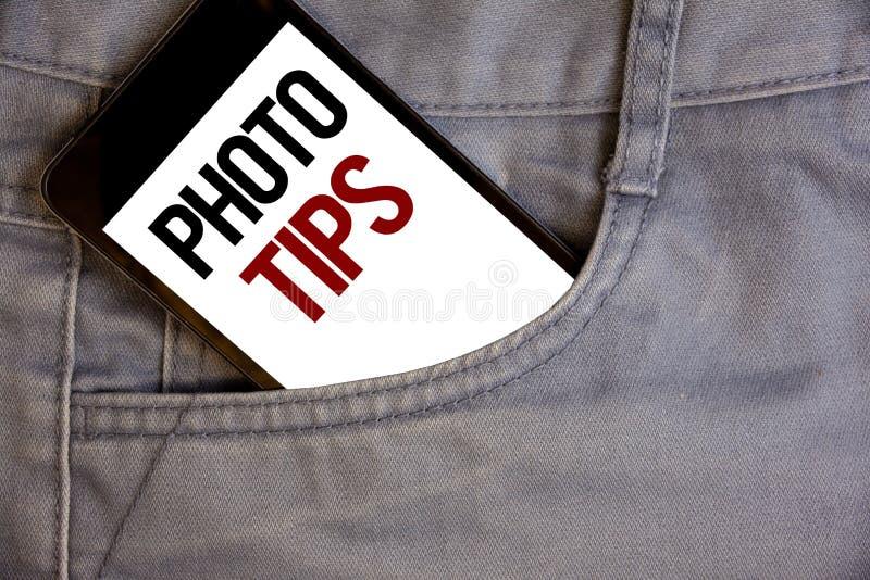 Het schrijven nota die Fotouiteinden tonen Bedrijfsfoto's die Suggesties demonstreren om goede beeldenadviezen voor grote photosg royalty-vrije stock fotografie
