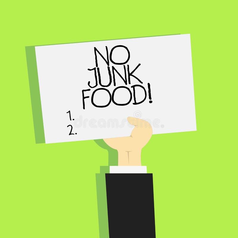 Het schrijven nota die Geen Ongezonde kost tonen Het bedrijfsfoto demonstratieeinde die ongezonde dingen eten gaat op een dieet o royalty-vrije illustratie