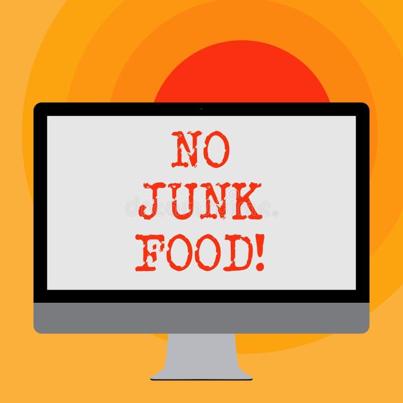 Het schrijven nota die Geen Ongezonde kost tonen Het bedrijfsfoto demonstratieeinde die ongezonde dingen eten gaat op een dieet o stock illustratie