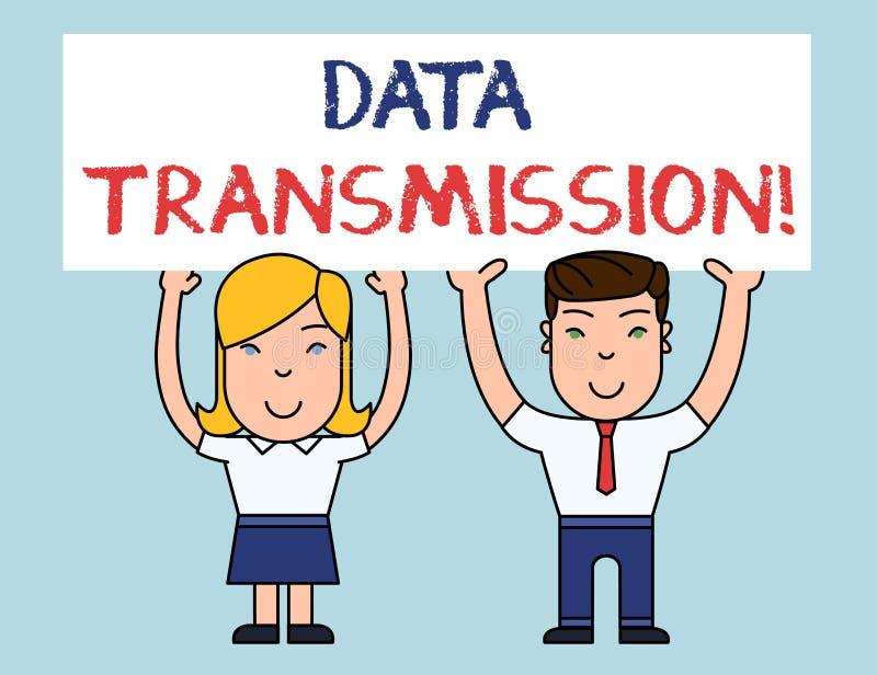 Het schrijven nota die Gegevenstransmissie tonen Bedrijfsfoto die elektronisch verzendend gegevens over mededelingen demonstreren stock illustratie