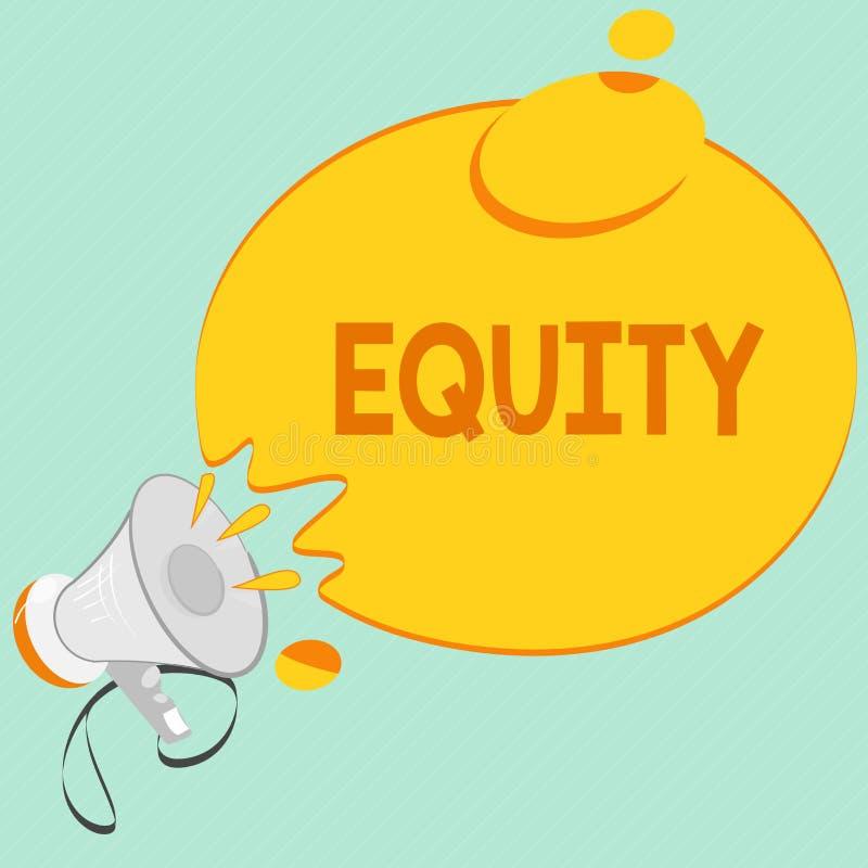 Het schrijven nota die Gelijkheid tonen De bedrijfsfoto demonstratiewaarde van een bedrijf verdeelde in gelijke die delen door aa royalty-vrije illustratie