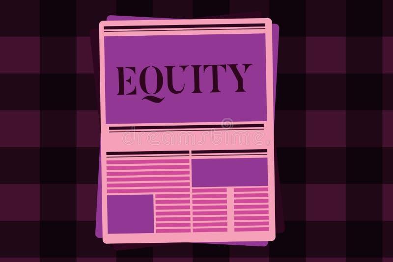 Het schrijven nota die Gelijkheid tonen De bedrijfsfoto demonstratiewaarde van een bedrijf verdeelde in gelijke die delen door aa vector illustratie