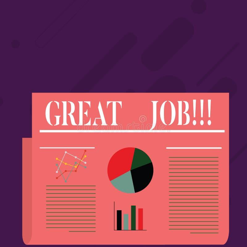Het schrijven nota die Grote Baan tonen Bedrijfsfoto die het Uitstekende Compliment van het werk Goed uitgevoerde Goede resultate vector illustratie