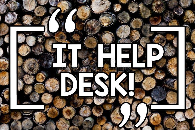 Het schrijven nota die het Helpdesk tonen De hulp die van de bedrijfsfoto demonstratieonlineondersteuning het tonen met technolog royalty-vrije stock foto
