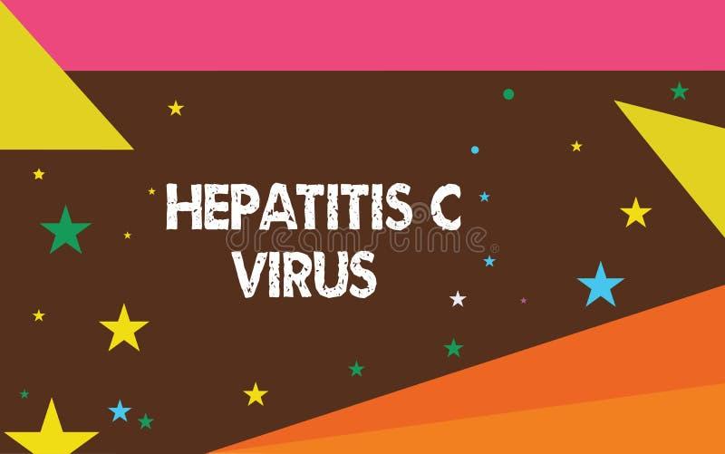 Het schrijven nota die Hepatitisc Virus tonen Bedrijfsfoto die Besmettelijke agent demonstreren die virale hepatitisziekte veroor royalty-vrije illustratie