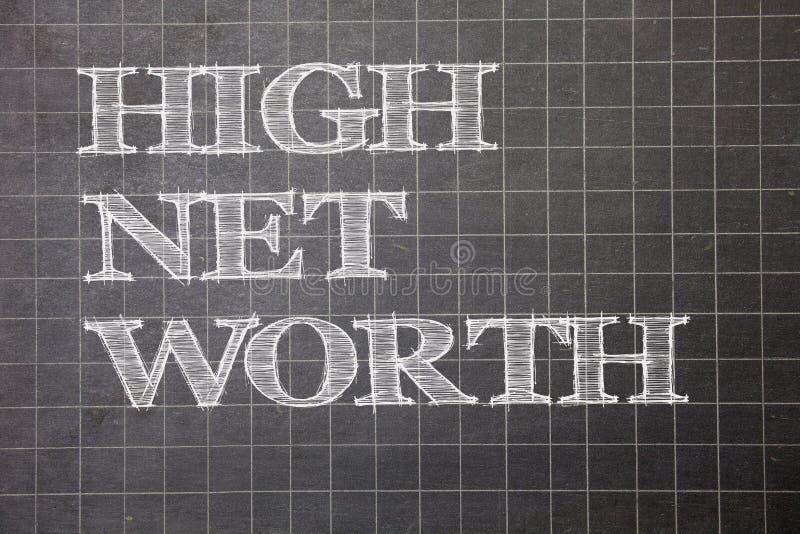 Het schrijven nota die Hoge Netto Waarde tonen Bedrijfsfoto die hebbend hoogwaardig demonstreren iets duur a-Klasse bedrijfmillim vector illustratie