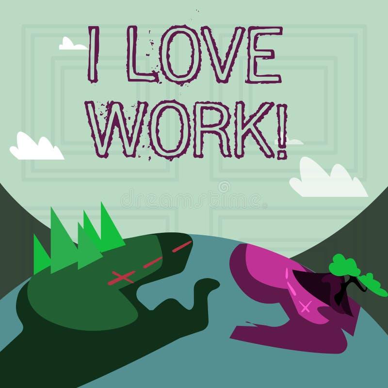 Het schrijven nota die I-het Liefdewerk tonen Bedrijfsfoto demonstratie gelukkig om te zijn tevreden met baan doet van welk u de  stock illustratie