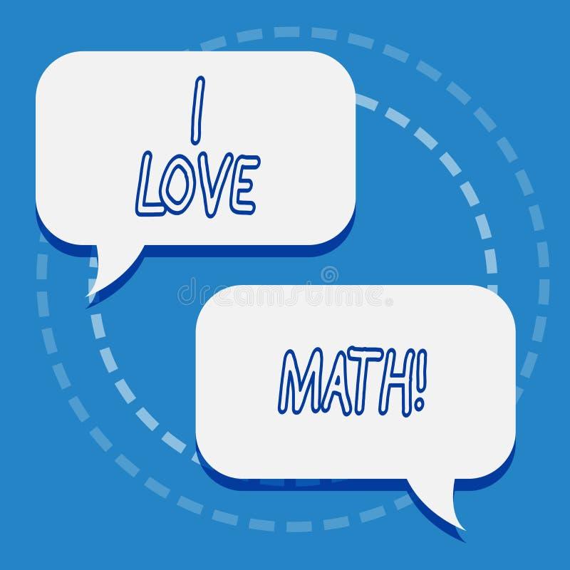 Het schrijven nota die I-Liefdewiskunde tonen Bedrijfsfoto demonstratie aan het gelijkaardige een het doen aantal van de berekeni vector illustratie