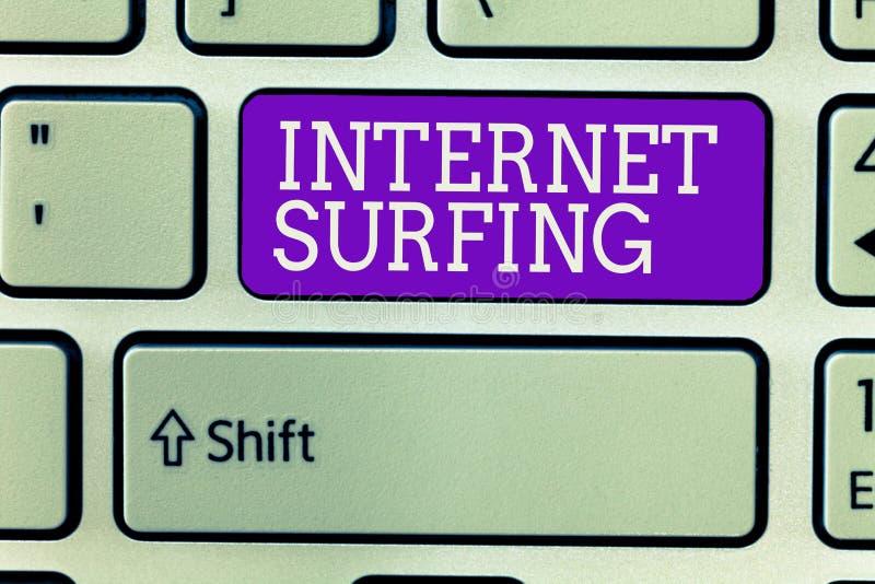 Het schrijven nota die Internet-het Surfen tonen Bedrijfsfoto demonstratie die honderd van websites geïnstalleerd gebruiken doorb stock foto