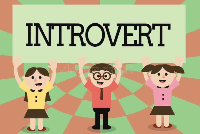 Het schrijven nota die Introvert tonen De bedrijfsfoto demonstratie neigt te zijn het binnenkomende draaien of concentreerde meer stock illustratie