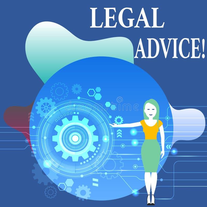 Het schrijven nota die Juridisch Advies tonen Bedrijfsfoto die professionele adviezen demonstreren die door beroeps wordt verstre royalty-vrije illustratie