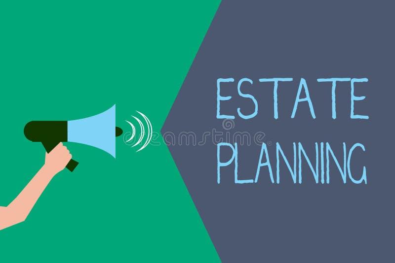 Het schrijven nota die Landgoed Planning tonen Bedrijfsfoto die het beheer en de verwijdering van het landgoed van die persoon de stock illustratie