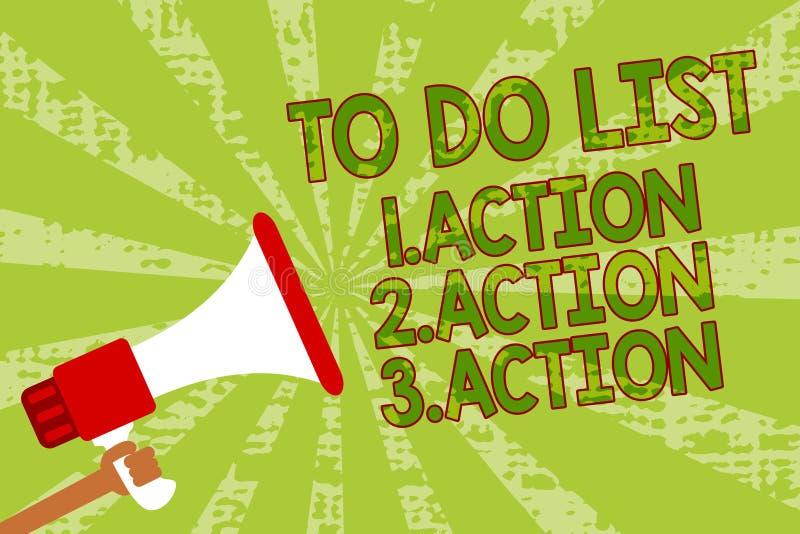 Het schrijven nota die Lijst 1 tonen te doen Actie 2 Actie 3 actie Bedrijfsfoto die zettend dagprioriteiten in de holding van de  royalty-vrije illustratie