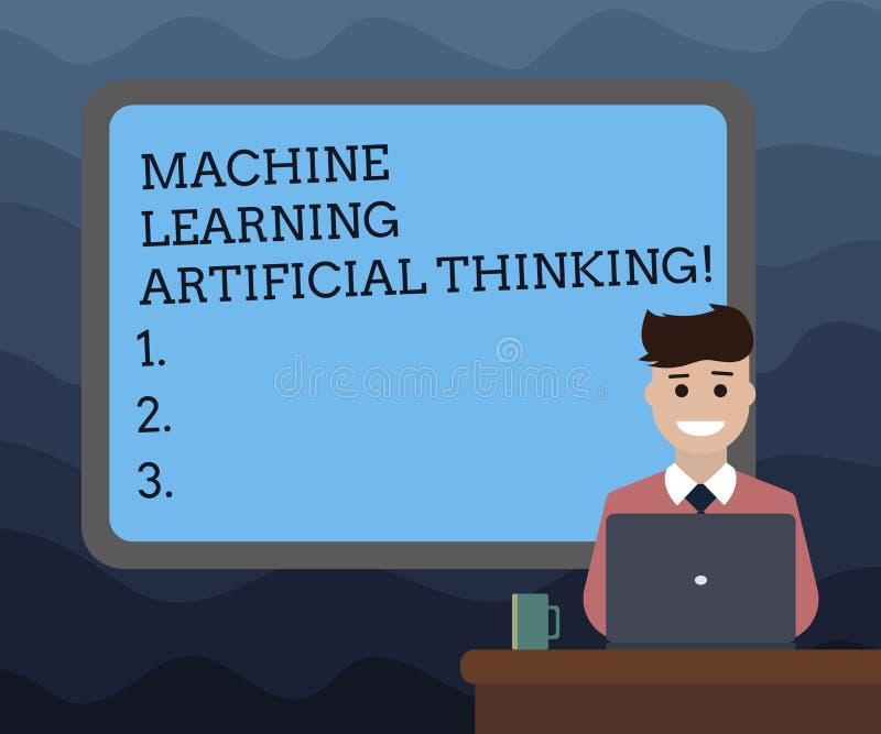 Het schrijven nota die Machine tonen die het Kunstmatige Denken leren Bedrijfsfoto die online Gegrenst het onderwijspraatje bot d royalty-vrije illustratie