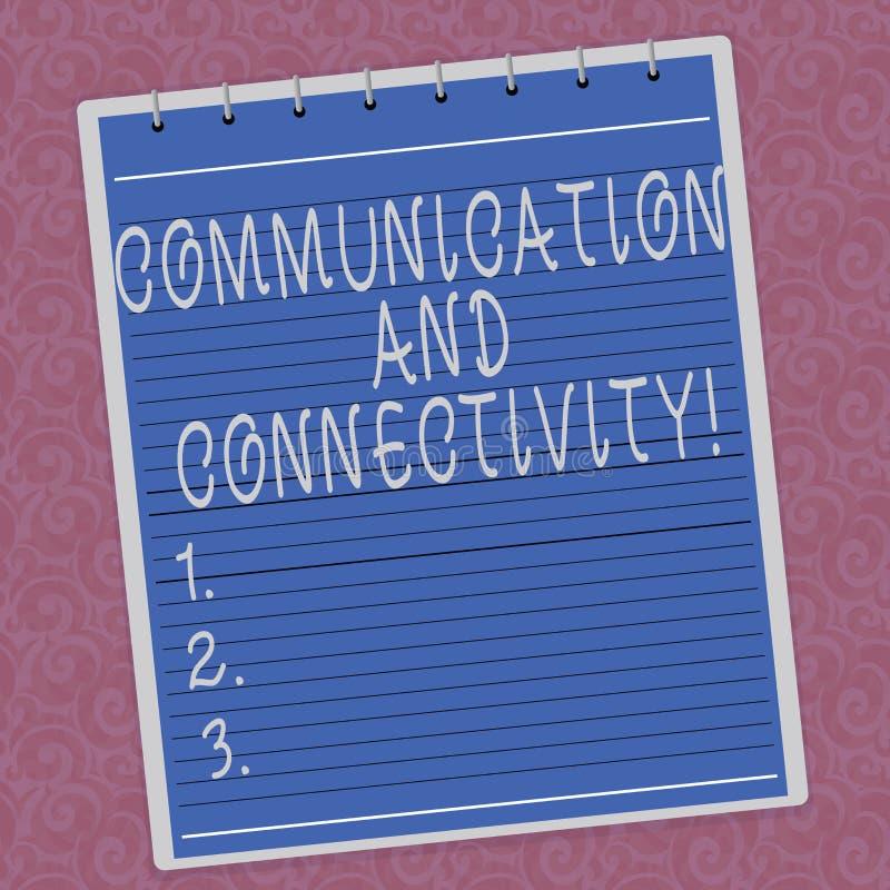 Het schrijven nota die Mededeling en Connectiviteit tonen Bedrijfsfoto die sociale verbindingen demonstreren door Gevoerde netwer stock fotografie