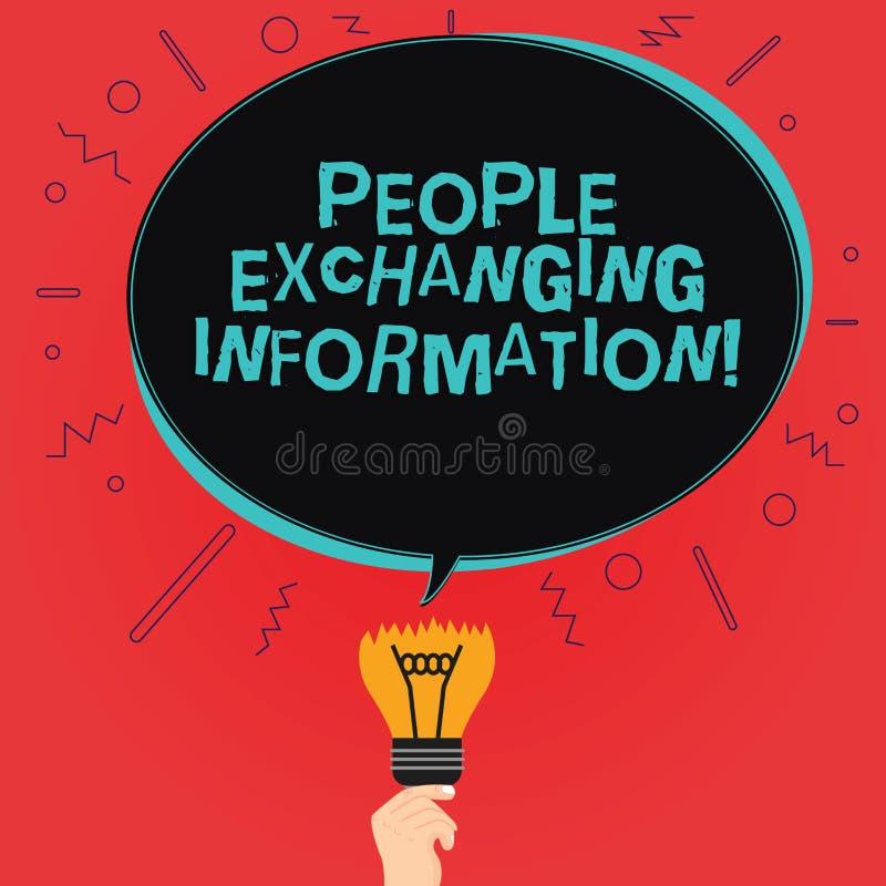 Het schrijven nota die Mensen tonen die Informatie ruilen Bedrijfsfoto demonstratie die informatie van overgaan tot een andere royalty-vrije illustratie