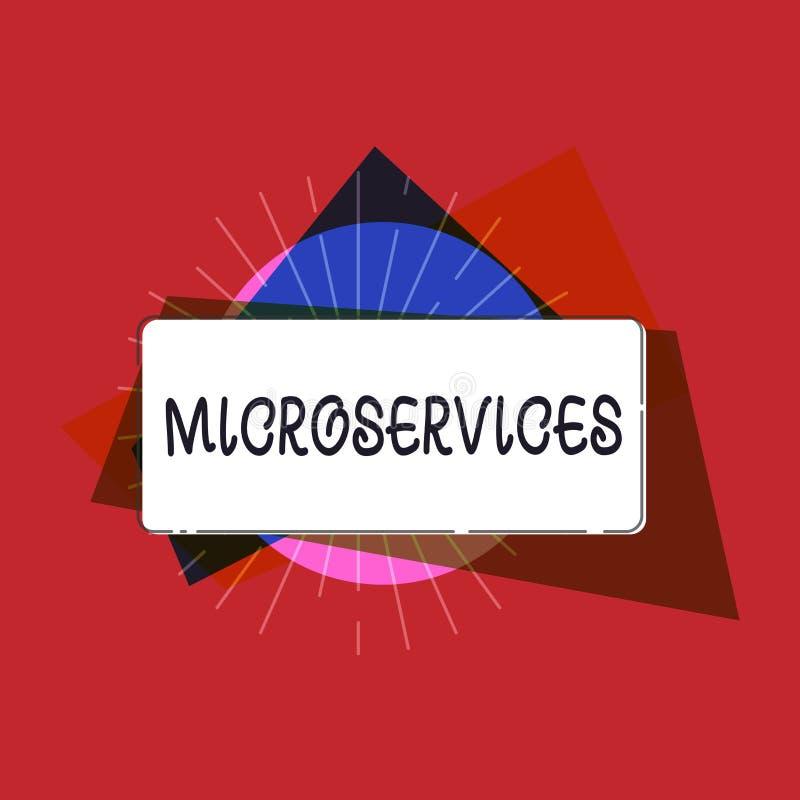 Het schrijven nota die Microservices tonen De techniek die van de bedrijfsfoto demonstratiesoftware-ontwikkeling enige functie bo vector illustratie