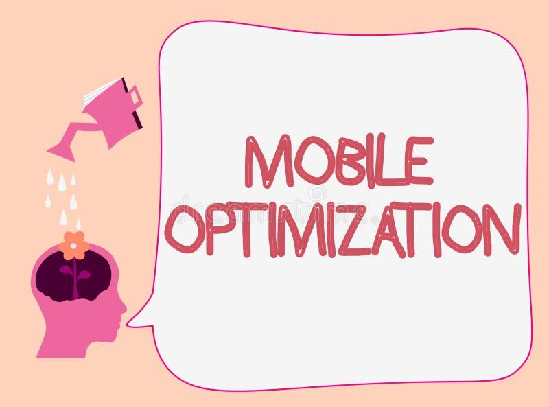 Het schrijven nota die Mobiele Optimalisering tonen De Inhoud van de bedrijfsdiefoto demonstratieplaats voor Handbediend of Table vector illustratie